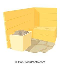 Sauna icon, cartoon style - Sauna icon. Cartoon illustration...