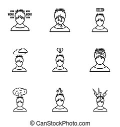 Emotions types icons set, outline style - Emotions types...