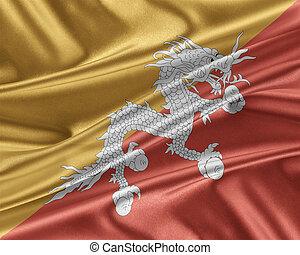 Bhutan flag with a glossy silk texture. - Bhutan flag. Flag...