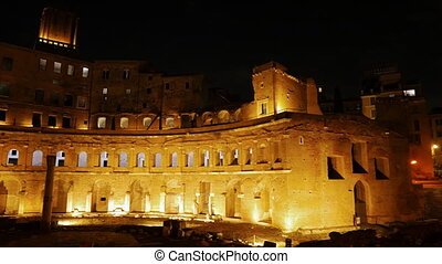 The ruins of Trajan's Market, Night. Rome, Italy. UltraHD...