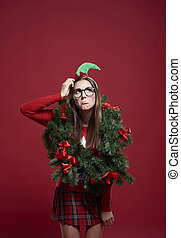 Sad woman with Christmas problems