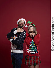 Nerd couple in Christmas time