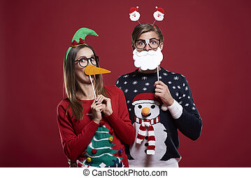 Bizarre couple in Christmas time