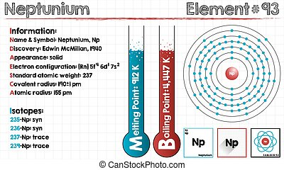 Element of Neptunium - Large and detailed infographic of the...