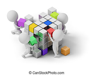 isometric people - concept of creating. 3d image. White...