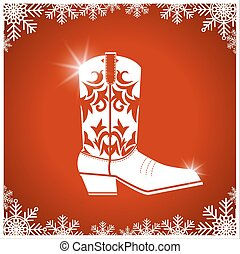 American christmas card with cowboy boot on red...