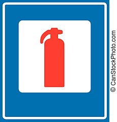 Fire Extinguisher Sign - Fire Extinguisher Road Sign, Vector...