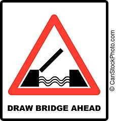 Lifting bridge warning sign icon in flat style on a white...