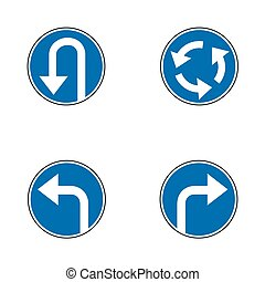 Set of variants a U-Turn forbidden - road sign isolated on...