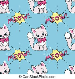 Seamless pattern with cute cats and MEOW saying. Vector...