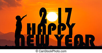 Concept new year 2017,Happy New Year 2017 sun set background