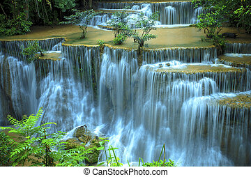 hauy mae kamin water falls in deep forest national park...