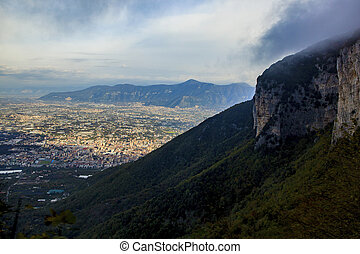 top view of a town near vesuvius volcano road to sorrento...
