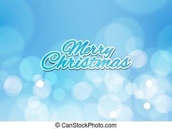 Merry Christmas with Bokeh Lights Blue Background