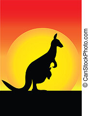 Kanagroo and  Joey  - Kanagroo And its Joey In The Sunset