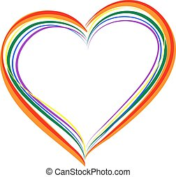 LGBT rainbow heart symbol of love. Isolated on white vector...