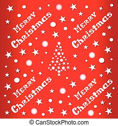 Christmas and New Year red background with Christmas tree of stars.