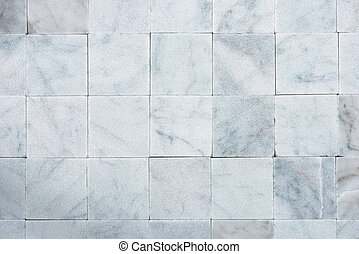 Square Tiles of White Carrara Marble - Background with...