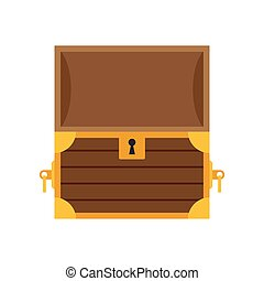 Wooden empty chest with open cover