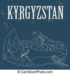 Kyrgyzstan. Retro styled image. Vector illustration