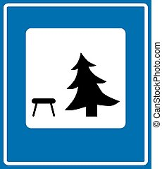 Vector icon illustration showing a picnic table and a pine...