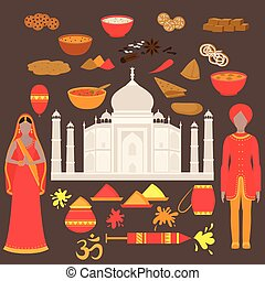 India set. Hinduism design elements. South Asia beautiful woman and man wearing indian traditional cloth. Taj Mahal Temple Landmark in Agra. Vedic cuisine, set of vegetarian healthy food. Holi traditional festival of colours