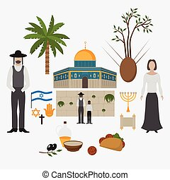 Symbol and design elements Jerusalem, Israel. Travel landmarks. Al-Aqsa Mosque Dome of the rock. Religios architecture.