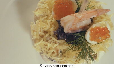 Salad with seafood, close up - Salad with seafood, slow...