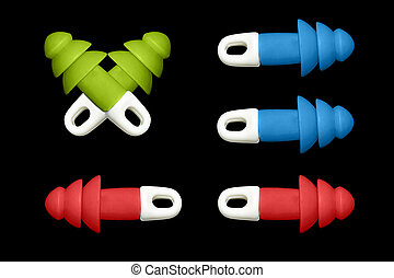 ear plugs multi-colored on blak background - ear plugs...