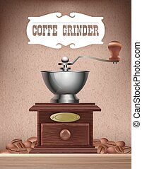 Old wooden hand coffee grinder