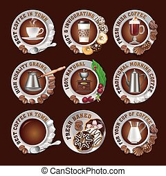 Set beautiful realistic badges of coffee - Set of vector...