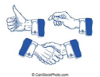 Set of icons mens hands making various gestures