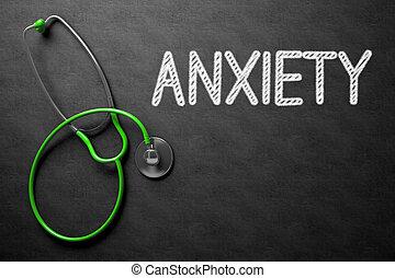 Anxiety Handwritten on Chalkboard. 3D Illustration. -...
