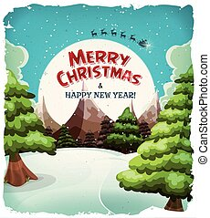 Merry Christmas Landscape Postcard - Illustration of a...