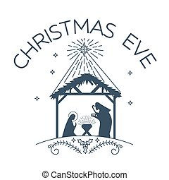 Happy Christmas Eve logo - Vector illustration of happy...