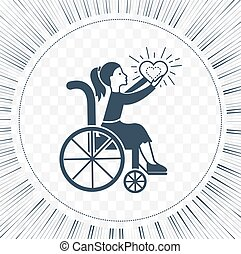 Icon disabled girl with a stroller