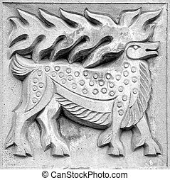 fabulous moose, bas-relief - fabulous moose, a stone...