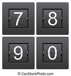 Numeric series 7 to 0 from mechanical scoreboard
