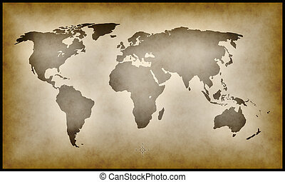 earth map - An illustration of an old earth map