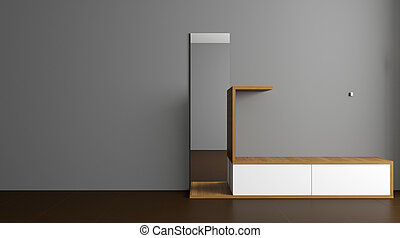 The Modern hallway with furniture. 3D rendering