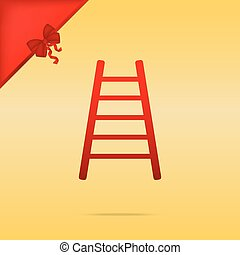 Ladder sign illustration. Cristmas design red icon on gold background.