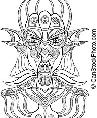 Portrait of a demon in abstract style. Sacred vector...