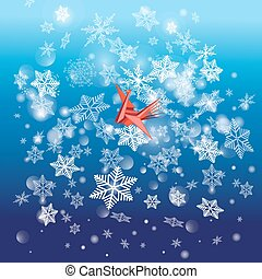 Winter bright background with snowflakes and a bird - Vector...