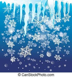 Winter vector background with snowflakes and icicles