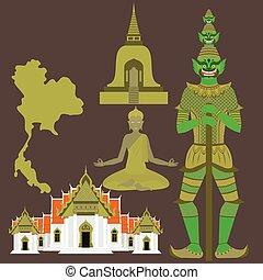 Thailand symbols, Temple Benchamabophit, Guardian Giant Yaksha, Buddhist stupa - chedi, sculpture of Buddha,