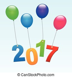 new years balloons - Illustration of new years balloons...