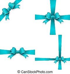 Blue bow isolated on white background. EPS 10