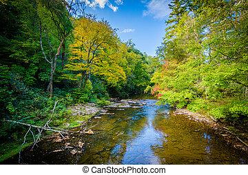 The Linville River near Linville Falls, along the Blue Ridge...