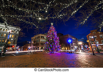 Christmas tree at Penn Square at night, in Lancaster,...