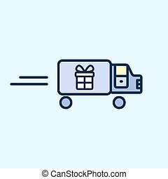 Icon truck carries gift box. Delivery, shipping. Vector illustration flat design.